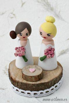 Customizable peg doll wood cake topper, bridal, wedding, topper by ArtwenShop on Etsy