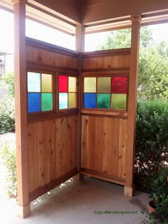 Cedar and Stained-Glass Privacy Screen - built by my super-talented husband.
