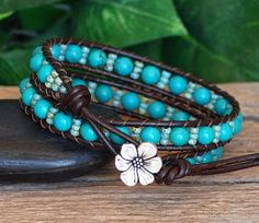 NEW IN THE SHOP! In this series of bracelets, I combined my favorite 6mm gemstone beads with my current obsession - Japanese Miyuki seed beads with really interesting and beautiful finishes. Both are carefully ladder stitched on to top quality leather with highest quality beading cord and finished with a lovely TierraCast Button Closure (another favorite!). This one is a gorgeous combination of vibrant Turquoise Howlite Semi-Precious Stone Beads and Miyuki Blue Seed Beads with a picasso…