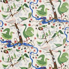 Josef Frank got the inspiration for this print from The Green Book of Birds by Frank G. The print was designed in 1943 - - Fabric Sample Gröna Fåglar, Coated cotton, Gröna Fåglar, Josef Frank Josef Frank, Frank Frank, Robert Frank, Motifs Textiles, Textile Patterns, Print Patterns, Pattern Designs, Fabric Birds, Illustrations