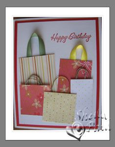 totally cute woman's card idea to use up scraps of ribbon and paper for bags