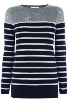 A stripy tee with a block colour neckline