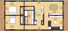 Modern Style House Plan - 2 Beds 1 Baths 1250 Sq/Ft Plan #474-34 Main Floor Plan - Houseplans.com
