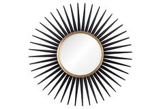 One Kings Lane - Mirror Image - Starburst Mirror, Ebony & Gold Leaf Mirror Photo Frames, Mirror Image, Mirror Mirror, Home Decor Mirrors, Wall Decor, Home Suites, Starburst Mirror, Room Of One's Own, Black Gold Jewelry