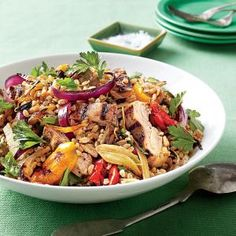 Chicken, Farro and vegetable salad with lemon vinaigrette   Grilling the chicken and vegetables gives this healthy and hearty salad a smoky, sweet flavor. If you prefer, substitute sliced celery for fennel and pearl barley or wheat berries for farro.