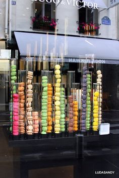 Macarons , Rue Victor Hugo Rue Victor Hugo was one of my favorite places to spend time. I lived on the other side of the so I would often take the bus and then walk and enjoy new cafes while I did my work/read Cake Shop Design, Coffee Shop Design, Bakery Design, Cafe Design, Patisserie Design, Decoration Patisserie, Design Design, Design Ideas, Bakery Store