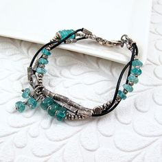 Intertwined Silver, Blue Apatite, and Leather Bracelet