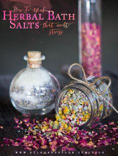 How To Make Herbal Bath Salts That Melt Stress | Bulk Herb Store Blog | Learn how to say goodbye to stress with these homemade herbal bath salts!