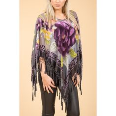 Jayley Grey Floral Poncho found on Polyvore featuring women's fashion, outerwear, silk poncho and grey poncho