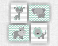 Mint and gray jungle animals nursery prints lion hippo giraffe
