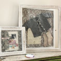 Lovely shadow boxes: from Cox & Cox. I want an empty shadow box of this size to put my antique baby dress in. It was made by my great grand aunt and was worn by my mother, me and my daughter. Vintage Clothing Display, Clothing Displays, Memory Frame, Going Home Outfit, Cox And Cox, Vintage Baby Clothes, Shabby Chic Farmhouse, Baby Memories, Photo Displays