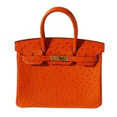 30cm Hermes Orange Ostrich Birkin Bag Handbag a7d13b17406