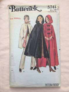 Butterick 5741 Uncut Bust 31/32 Cape Sewing Pattern Vintage Sixties 60s retro Small Size 8 Size 10 Outerwear Hooded Winter Dressmaking by TinySparrowTreasures on Etsy