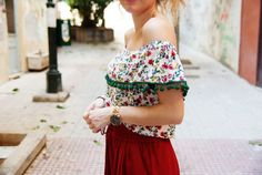 BARCELONA top - Off-the-shoulder top. Off-the-shoulder crop top. Different lengths Pom Pom Tops, Off The Shoulder, Stitches, Barcelona, Crop Tops, Boho, Unique, Clothes, Shopping