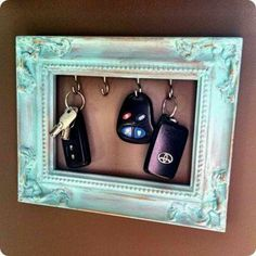 key hooks- white frame... larger for our sets... cool idea