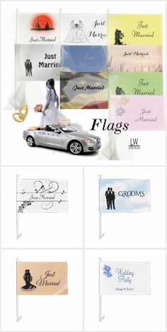Wedding Car Flags Flags for all the cars in the wedding. Just Married for the Bride and Groom. Wedding Party for the couples. You can also add the names of who is the car making this a great memento for the couple. Put a flag on each side of a car and each will get to keep one. If you need a car flag made to fit your event . Please feel free to contact the designer and I will put together your request after we discuss your needs. #zazzlemade