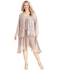 SL Fashions Plus Size Dress and Jacket, Sleeveless Satin Crochet - Plus Size Dresses - Plus Sizes - Macy's
