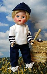 "*AuTuMN GaMeDaY* 3 PC Fun Outfit+BONUS! for Vogue 7.5"" Ginny Boy Dolls, Muffie and Madame Alexander dolls too. SHIRT HAT & JEANS in this purchase plus bonus, no doll included. At my website now available for instant purchase! FREE BONUS! Small tiny skateboard for your doll to play on. Click the pix to take you there. LAST NAVY SET!"
