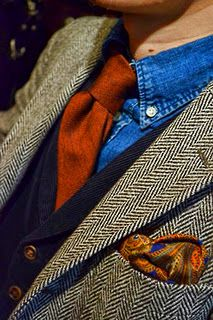 Texture in It the jacket, tie, shirt and hankie