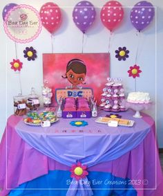 Dorian Best Day Ever Creations C's Birthday / Doc McStuffins - It's Time for Your Check Up with Doc Andrea at Catch My Party Doc Mcstuffins Birthday Party, 4th Birthday Parties, Birthday Bash, Birthday Ideas, Purple Birthday, Birthday Decorations, Lila Party, Party Planning, Party Ideas