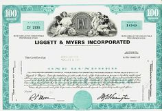 LIGGETT & MYERS INC ( L&M CIGARETTES Tobacco) Durham NC Stock certificate Dow Jones Index, Awesome Definition, Stocks And Bonds, Antique Coins, Durham, Certificate, Antiques, Jewelry, Coins
