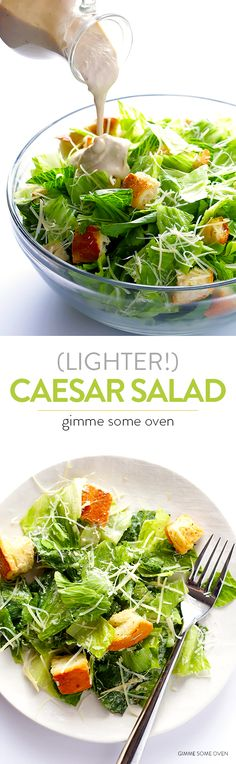 This lighter Caesar salad recipe is made with a Greek yogurt Caesar dressing and comes together in just minutes!