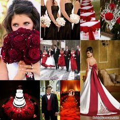 Like the rose bouquet and the pic in the center has the flower colors and dress colors right