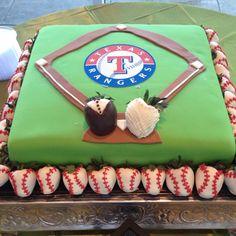 Texas Rangers grooms cake...love the groom/bride dressed strawberries