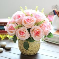 artificial pink roses table decoration - Google Search
