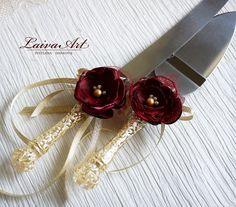 Wedding Cake Server Set & Knife Ivory Burgundy Cake Cutting Set Wedding Cake…