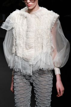 Textiles Design for fashion, textured pants + organza & wool blouse inspired by snowy landscapes; creative fabric manipulation // Conny Groenewegen