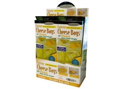 """Forever Cheese Bags Countertop Display, 10 - Save money by extending the life and freshness of cheese with this 10-piece Forever Cheese Bags Set featuring extra thick, reusable anti-microbial zipper bags that make all cheese stay fresh longer. Helps reduce vitamin loss without the use of harmful chemicals. Each bag measures approximately 9"""" x 12"""". Comes packaged in a hanging box. Countertop display comes with 10 pieces.-Weight: 0.5/unit"""