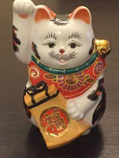 MANEKI NEKO LUCKY CAT KUTANI YAKI PORCELAIN FIGURINE JAPAN | #1802645952