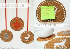 Holiday Corkboards with 3 Uses, holiday craft, handmade holiday gift idea, handmade gifts, christmas decor, corkboard art, diy hot pads, sil...