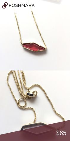 """Kendra Scott 'Beth' Necklace A unique abstract pentagon shape pendant with a burgundy illusion gemstone. The burgundy illusion colorway is created by a doublet made of a gray mother of pearl that is topped with burgundy colored glass.  * 14k gold plated over brass  * chain approx 28"""" in length with an adjustable sliding clasp closure. *  pendant 1.06"""" L x 0.4"""" W Without dust bag Condition : new/never used without retail tag Kendra Scott Jewelry Necklaces"""