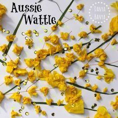 Aussie golden wattle craft for kids: hands on way for kids to learn about our beautiful Australian national flower. Australia Crafts, Australia Day, Australia School, Toddler Crafts, Preschool Crafts, Preschool Jungle, Craft Kids, Preschool Ideas, Teaching Ideas