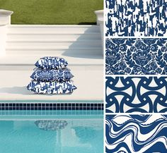 Chic outdoor pillows. #Schumacher #TrinaTurkPrint