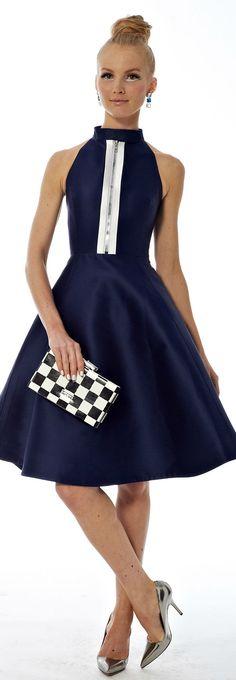 Kate Spade | S/S 2014. Indigo blue dress, preppy mod clutch.  #devinecolor