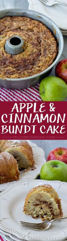 Apple & Cinnamon Bundt Cake - Not too sweet and a perfect dessert for fall!