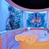 Aquatic Backdrop: Dallas, TX.   With a tub surrounded by an aquarium on three sides, this extravagant space simulates the experience of soaking deep under the sea. Beyond the surreal bathing area, the room also features separate vanities with elegant vessel sinks and gold fixtures. Listed for $9.95 million, this palatial residence comes with a wine room, an office and a billiard room.