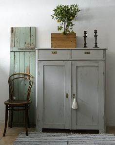 Distressed Paint for Furniture in Greys and Greens