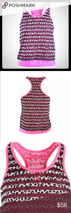 Juicy Couture Sport B/W Mesh Striped Tank Top M Manufacturer: Juicy Couture Sport Size: M Manufacturer Color: Black-Ultra White Retail: $108.00 Condition: New with tags Style Type: Shirts & Tops Collection: Juicy Couture Sport Sport: (beautiful style top)  Apparel Style: Top Sleeve Length: Sleeveless Closure: pullover  Material: 93% Polyester/7% Elastane Fabric Type: Mesh Specialty: Racerback Style Number: WSKT28730 Juicy Couture Tops Tank Tops