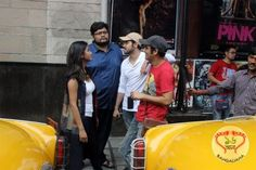 The cast members of the recently released Bengali film Shaheb Bibi Golaam engaged themselves in a joy ride in front of Priya Cinema.