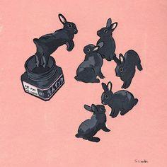 Acrylic Paint by Schinako Moriyama. Schinako Moriyama is an illustrator as bunny art from Fukushima, Japan Continue reading and for more Acrylic art→View Website Bunny Drawing, Bunny Art, Pretty Art, Cute Art, Animal Drawings, Cute Drawings, Lapin Art, Rabbit Art, Kawaii