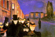 Edward. Munch, Sera sul viale Karl Johan, 1892, olio su tela, Commune Ramus Meters Collection, Bergen