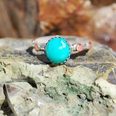 Turquoise Ring - Sterling Silver Ring - Silver Turquoise Ring - Genuine Turquoise Ring - Mixed Metal Ring - Blue Stone Ring - Size 8 Ring by EarthsBountyGems on Etsy