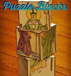Catholic Saints Puzzleblocks Papercraft by CatholicPlayground