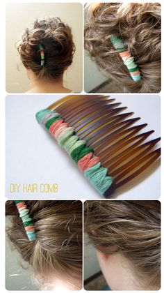 DIY hair combs!  This is a super simple project.   All you need is a hair comb and embroidery floss.   I had a pack of hair combs that I got at Walgreens a long time ago   (Like 10 or 12 combs for $4- they still have them).   Vintage embroidery floss from forever ago.