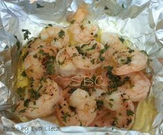 Foil Packet Shrimp great for low carbers 1/2 stick softened butter 1 cup chopped…