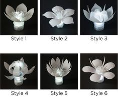 Set of 6 Plastic Flowers Bottle LEDs (one in each style)- Set of 6 LED Plastic Bottle Flowers (one in each style) Set of 6 LED plastic bottle flowers one in each style Plastic Bottle Flowers, Flower Bottle, Plastic Bottle Crafts, Recycle Plastic Bottles, Recycled Bottles, Recycled Art, Water Bottle Crafts, Water Bottles, Melting Beads